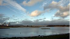 Landscape view of RSPB Belfast Lough Nature Reserve, Country Antrim, Northern Irelands, December 2016