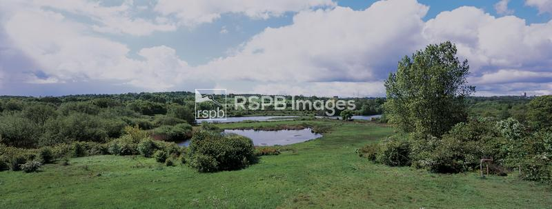 Sandwell Valley RSPB reserve, panorama from visitor centre, May ...