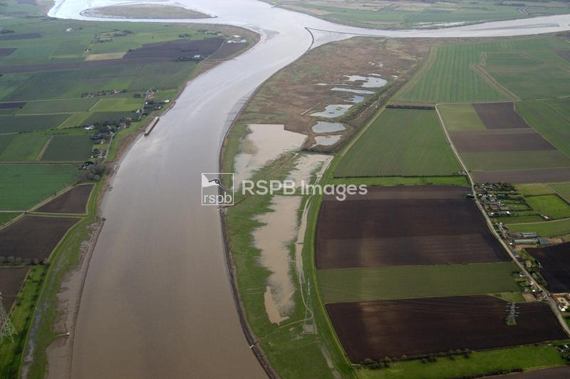Blacktoft Sands RSPB Reserve, East Yorkshire. Aerial view ...