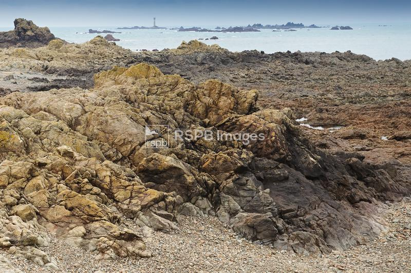 Rugged granite coastline with lighthouse in the background providing protec ...