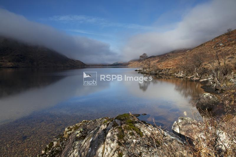 Loch Arkaig with half cleared mist and low cloud looking west, Lochaber Hig ...