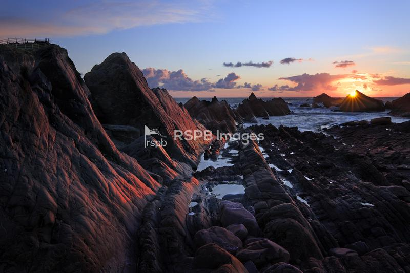 Sunset at Hartland Point, Somerset, Devon, England, April ...