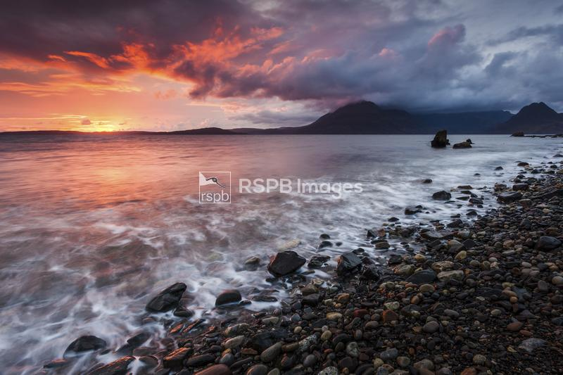 Sunset looking over to the Cullin Hills, Elgol, Isle of Skye, Scotland, Sep ...