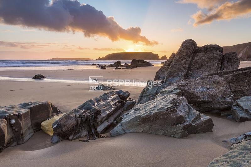 Sunset on the Marloes coastline, Pembrokeshire, Wales, February ...