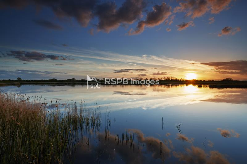 Sunset over lake and reeds, Langford RSPB nature reserve, Langford, Notting ...