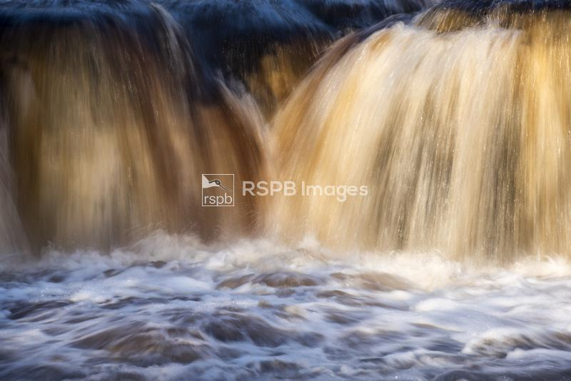 Wain Wath Force waterfall, detail of water flow, River Swale near Keld, Yor ...