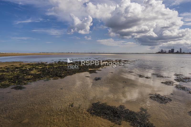 Tidal sands reflecting clouds with an industrial horizon, Teesmouth Estuary ...