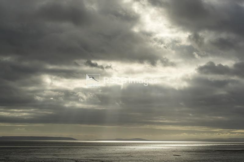 Bad weather over the Bristol Channel viewed from the River Usk estuary, Gwe ...
